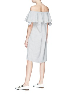 Comme Moi Ruffle off-shoulder wool blend dress