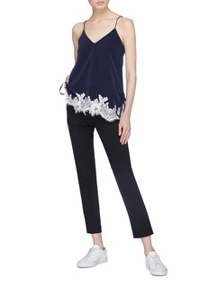 Comme Moi Drawstring waist lace trim camisole top