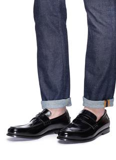 JIMMY CHOO Darblay铆钉边饰光滑真皮乐福鞋
