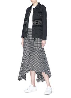 Tu Es Mon Trésor Embroidered smocked waist canvas field jacket