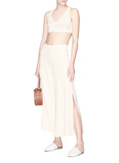 CRUSH Collection Side split scalloped silk-cotton knit culottes