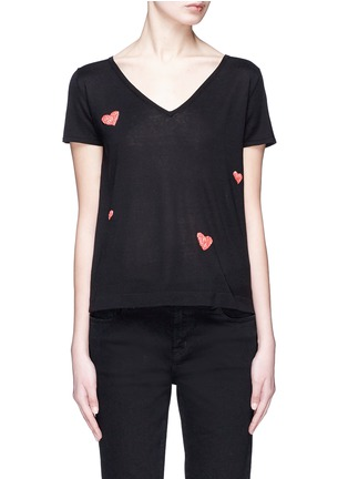 Main View - Click To Enlarge - CRUSH Collection - Heart embroidered silk sweater