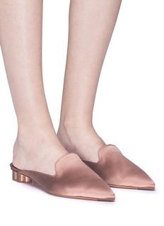 SALVATORE FERRAGAMO Maida花形粗跟缎面穆勒鞋