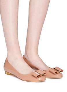 Salvatore Ferragamo 'Capua' metallic flower heel patent leather ballet flats