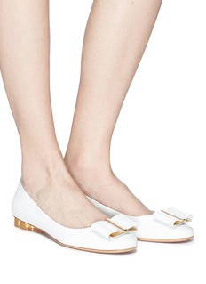 Salvatore Ferragamo 'Capua' metallic flower heel patent leather ballet flats