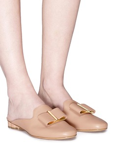 Salvatore Ferragamo 'Sciacca' flower heel calfskin leather mules