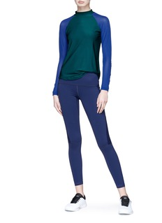 Particle Fever Mesh panel contrast sleeve performance top