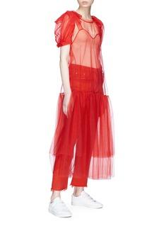 Xiao Li Tie shoulder tiered mesh midi dress