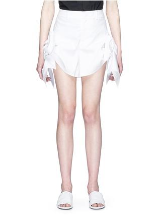Main View - Click To Enlarge - Xiao Li - Bow cuff poplin shorts