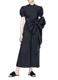 Xiao Li Bow drape poplin culottes