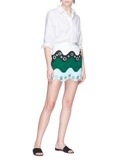 Emilio Pucci Colourblock perforated scalloped skirt