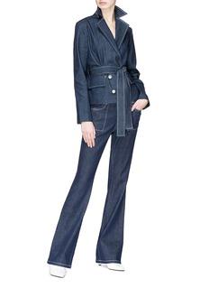 JUNE BO 车缝线点缀高腰喇叭牛仔裤