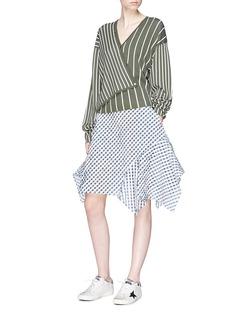 Dawei Asymmetric gingham check skirt