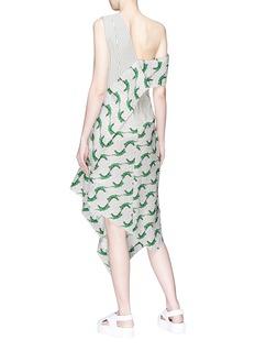 Dawei Mix print panelled one-shoulder dress