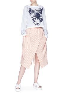 Dawei Stripe mock wrap skirt