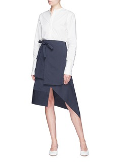 FFIXXED STUDIOS Tie back mandarin collar poplin shirt