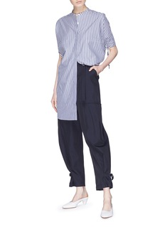 FFIXXED STUDIOS Drawstring cuff mandarin collar oversized stripe shirt