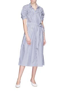 FFIXXED STUDIOS Drawstring yoke stripe belted poplin shirt dress