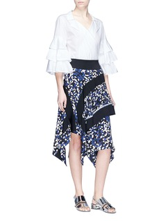 3.1 Phillip Lim Brushstroke print asymmetric tiered silk crepe skirt