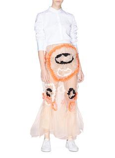 Minki Floral appliqué ruched silk organza skirt