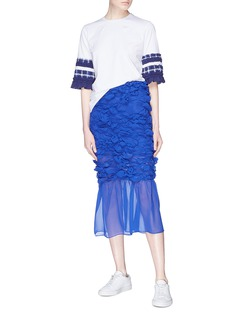 Minki 条纹褶裥荷叶边衣袖纯棉T恤