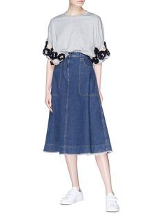 Minki 拼色立体花卉装饰纯棉T恤