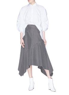Minki 褶裥灯笼袖布饰拼接府绸衬衫