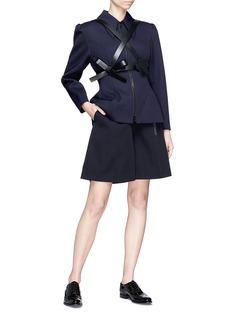 Shushu/Tong Buckled flared wool twill shorts