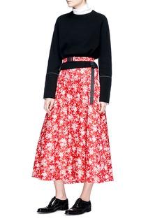 Shushu/Tong Buckle harness floral print midi skirt