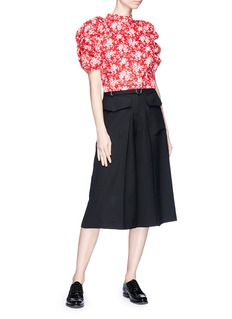 Shushu/Tong Ruched puff sleeve floral print cropped top