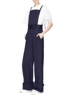 Shushu/Tong Detachable bodice wide leg wool suiting jumpsuit