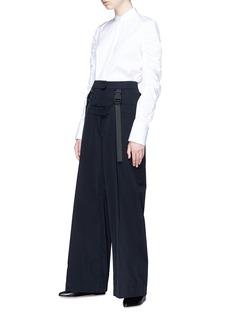 Shushu/Tong Buckled harness layered wide leg wool twill pants