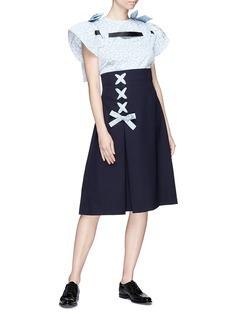 Shushu/Tong Ribbon bow pleated wool twill skirt