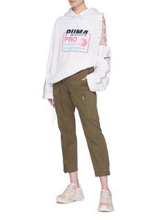 FENTY PUMA by Rihanna Cutout lattice sleeve logo slogan print hoodie