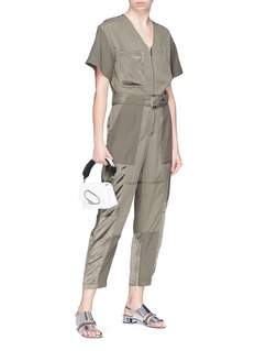 3.1 Phillip Lim Satin panel belted cargo jumpsuit