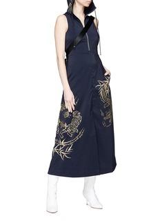 ANGEL CHEN 树叶刺绣及动物印花连衣裙