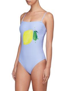 Onia 'Estelle' cutout back lemon print one-piece swimsuit