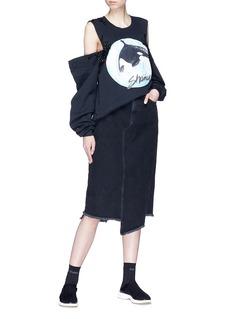 DRY CLEAN ONLY 'Wells' embellished Shamu print cold shoulder sweatshirt