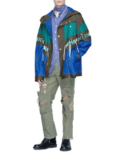 Junwei Lin Patchwork ripped denim pants