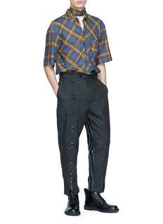 Junwei Lin Tie collar tartan plaid short sleeve shirt