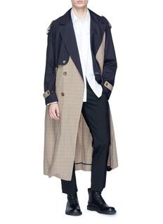 Junwei Lin 拼接设计双排扣格纹风衣