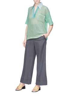 Acne Studios 'Temmo' contrast collar knit short sleeve top