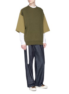 Dries Van Noten Mandarin collar poplin panel belted long sleeve T-shirt
