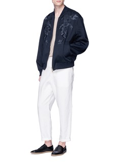 Dries Van Noten 'Volker' reversible floral embroidered cotton-linen bomber jacket