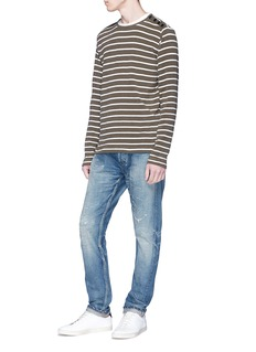 Denham 'Cadet' button shoulder stripe sweater