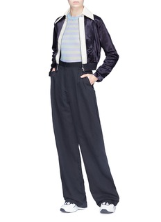 Acne Studios 'Rosaleen' contrast collar cropped satin bomber jacket