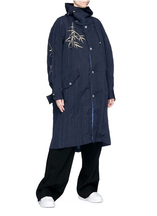 Front View - Click To Enlarge - Angel Chen - Tiger leaf embroidered unisex windbreaker jacket