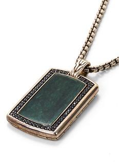 John Hardy Sapphire jade silver dog tag pendant necklace