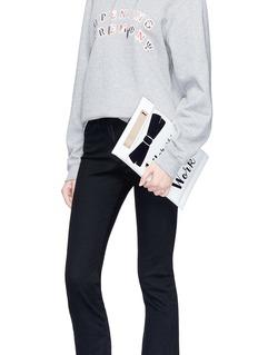 Cecilia Ma 'Allergic' slogan faux leather clutch