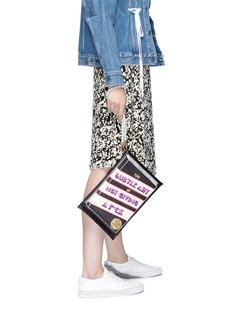Cecilia Ma 'Subtle' slogan faux leather clutch